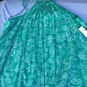 Women's Green Summer Dress with knitted border